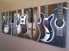 Guitar Paintings on Canvas - Fun for Rockstar kids bedroom in bright colors.