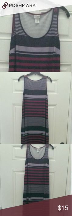 Motherhood Maternity tank top dress-size medium Long put please,  navy, lavender and black striped tank top dress. Length is 56 inches from top to bottom.  In great condition. Motherhood Maternity Dresses Maxi