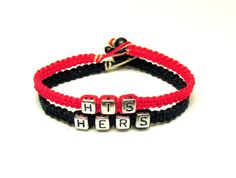 His Hers Couples Bracelet Set Hot Pink Bamboo by MandarrCreations, $22.00