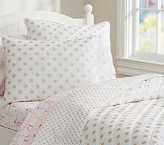 Gold Polka Dot Quilted Bedding | Pottery Barn Kids