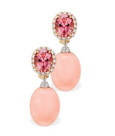 Paolo Costagli pendant earrings with pink coral and diamonds.