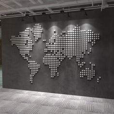 Accent wall art (on the right wall) World Wall Map of the World Map Elevated Office Decor Office Wall Design, Office Wall Art, Office Walls, Office Interior Design, Office Interiors, Office Decor, Office Furniture, Map Wall Decor, Wall Maps