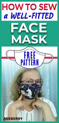 How to make a well-fitted cloth face mask plus a free PDF sewing pattern in two sizes - - This is a step-by-step video tutorial on how to sew afabric face mask. You can also get a free face mask pattern PDF. Small Sewing Projects, Sewing Projects For Beginners, Sewing Tutorials, Sewing Hacks, Sewing Tips, Easy Face Masks, Diy Face Mask, Diy Mask, Masque Facial Diy
