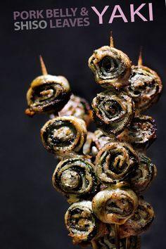 Pork belly/shiso leaf yakitori