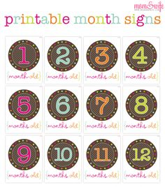 Free Printable Month Signs for Baby Pictures- download zipfile with all 12 months- use for scrapbooking- tags- etc!