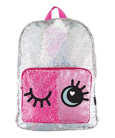 Little ones carry the day's essentials in style with this backpack featuring shiny sequins and padded straps for a comfy fit. The eyes appear open or closed depending on which way the sequins are swiped.