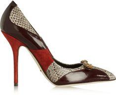 Dolce & Gabbana Bellucci embellished leather, suede and elaphe pumps on shopstyle.com