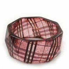 "Glittering Faceted Resin 'Tartan Pattern' Bangle Bracelet In Pink/Black - 20cm Length Avalaya. $12.60. Material: resin. Wear On: wrist. Length: 20.0cm (7.87""). Type: chunky. Occasion: casual wear, cocktail party"