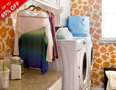 Get hampered with these hard-working laundry room essentials. Spacious sorting centers makes separating lights and darks quick and easy, rolling storage units keep detergent and softener close at hand, and retracting clothes dryers and fabric streamers cut heating costs and trips to the cleaners. So roll up your sleeves--it's time to get your dirty laundry in order.