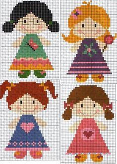 Cross-Stitching Chart: dolls [or you could add some wings, lighten the colours and you've got a sweet collections of angels - or fairies! ;) Mo]