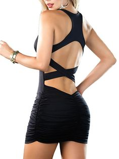 Stylish Black Shirring Racer Crisscross Back Bodycon Dress