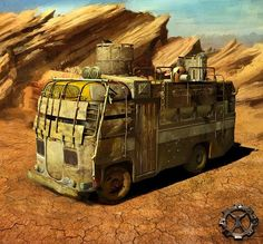 Post-Apocalyptic Armored Bus   art by a shitikov