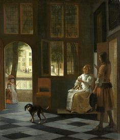 The Athenaeum - Man Handing a Letter to a Woman in the Entrance Hall of a House (Pieter de Hooch - )