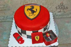 Red Ferrari cake with key box