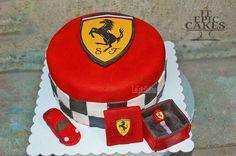 Red Ferrari cake with key box