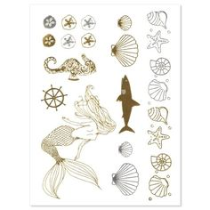 Amazon.- 5 SHEETS - Mermaid Edition - Gold and Silver Shiny