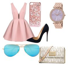 """""""Class A"""" by mgdw ❤ liked on Polyvore featuring H&M, Christian Louboutin, Ray-Ban and Michael Kors"""