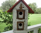 BARNWOOD BIRDHOUSE:  Barnwood transformed into a charming double birdhouse with old handmade walnut frames for perches