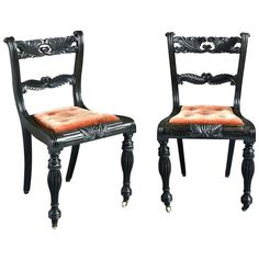 Pair of Anglo-Indian Ebony Side Chairs | From a unique collection of antique and modern side chairs at http://www.1stdibs.com/furniture/seating/side-chairs/