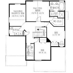 Second Floor Plan of Bungalow   Craftsman   House Plan 46153