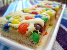 m&m sugar cookie bars   One Ordinary Day