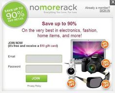 FREE ten dollar gift card when you sign-up for a FREE account with NoMoreRack! Plus get FREE STUFF when you refer friends!