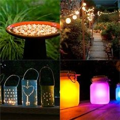 28 Stunning DIY Outdoor Lighting Ideas amp So Easy: 28 inspiring DIY outdoor lighting ideas using solar lights or market string lights to create beautiful patio, porch, & backyard lighting easily! Backyard Lighting, Outdoor Lighting, Lighting Ideas, Porch Lighting, Landscape Lighting, Kitchen Lighting, Plant Design, Garden Design, Regrow Vegetables