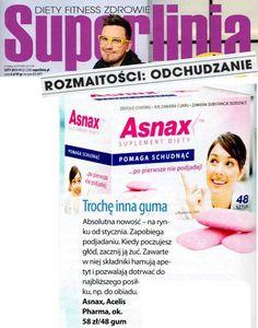 """Superlinia, luty 2013. Magazyn Superlinia, poświęcony odchudzaniu i dbaniu o szczupłą sylwetkę, zamieścił informację o Asnaxie™ w sekcji """"Rozmaitości: odchudzanie"""". Nasza guma opisana jest jako absolutna nowość, która zapobiega podjadaniu. Całkowicie się zgadzamy!"""