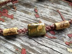 Rainforest Jasper Bamboo Beads Organic Brown Hemp by TheSunLab, $15.00