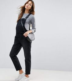 ASOS DESIGN Maternity denim overall in washed black. #ad