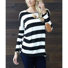 PinkBlush Black & Ivory Stripe Elbow-Patch Top ($35) ❤ liked on Polyvore featuring tops, stripe top, viscose tops, striped top, rayon tops and ivory top
