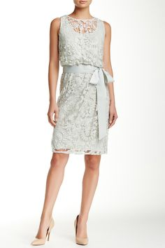 Sleeveless Lace Belted Sheath Dress by Adrianna Papell on @nordstrom_rack