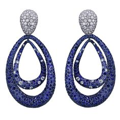 Titanium Glam Small Double Drop Earrings with Blue Sapphires and White Diamonds