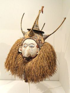 Mask (Tsekedi, Myondo, or Ndeemba), early 1900s, Central Africa, Democratic Republic of the Congo, Yaka people, wood, cloth, fibers - Cleveland Museum of Art