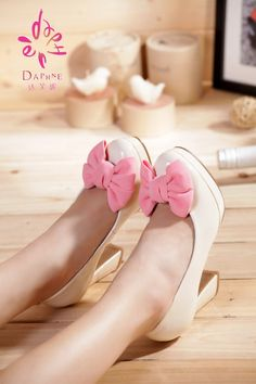 New leather women low shoes with thick heels bow #180