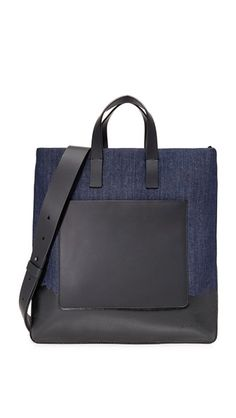 DKNY . #dkny #bags #shoulder bags #hand bags #denim #leather #tote #