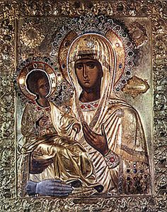 """Three-handed Theotokos"" or simply ""Tricherousa"" is a famous wonderworking icon in the Serb Orthodox monastery of Hilandar on Mount Athos, Greece. On the back of the icon is the painting of St Nicholas. Religious Icons, Religious Art, Holy Art, La Madone, Religion, Black Jesus, Russian Icons, Byzantine Icons, Madonna And Child"