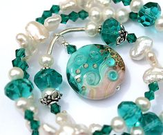 Pearl beach necklace  lampwork glass pendant in teal by MayaHoney, $38.00