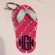 A personal favorite from my Etsy shop https://www.etsy.com/listing/234888293/personalized-acrylic-flip-flop-keychain