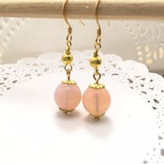 Gold Luster Beaded Earrings-Opaque Pink-Red by AudriasPrettyPieces