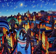 JIM EDWARDS - Passing By (Wanderers, Tyne) Dream Illustration, Beautiful Places To Live, City Art, Urban Landscape, Newcastle, Abstract, Gallery, Artist, Prints