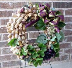 Wine Harvest  wine cork wreath by Corkycrafts on Etsy, $40.00
