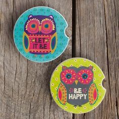 Owl Car Coasters - Set of 2