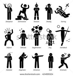 Neutral Personalities Character Traits. Stick Figures Man Icons. Starting with the Alphabet D.