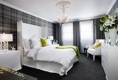 Grey tartan wallpaper adding a Scottish theme, I think this is my dream bedroom