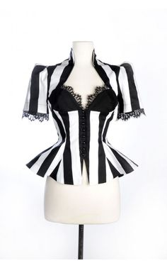 Laura Byrnes - Vintage Goth Pinup Capsule Collection - Lilith Top in Stripes | Pinup Girl Clothing