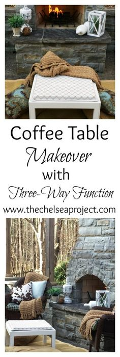 Coffee Table Makeover in White Chalk Paint with Three-Way Function | The Chelsea Project | www.thechelseaproject.com