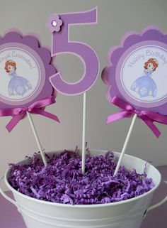 Center pieces! 3 Sofia the First Birthday Party by sweetheartpartyshop on Etsy, $10.00