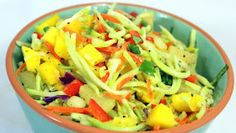 I think I have a new favorite Cole Slaw (Actually in this case, Broccoli Slaw). Fresh sweet Mango, Pineapple juices and tidbits combine. Potluck Dishes, Potluck Recipes, Side Dish Recipes, Cooking Recipes, Summer Recipes, Vegetable Salad, Vegetable Side Dishes, Broccoli Cole Slaw, Easy Enchilada Recipe