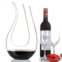 Wine Decanter - Wine Decanter, Wuudi Decanter Carafe Hand-Blown Crystal U Shape Carafe with a Wide Base for Vivid Aerating